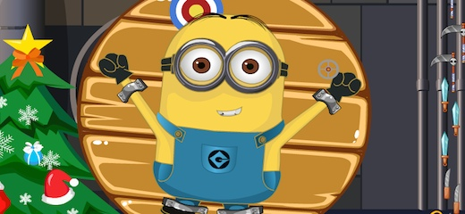 "Minions wanna have fun! Join the party and throw knives in this wicked ""darts"" game, trying not to hurt poor Minion. Have fun! Game Controls: Mouse"