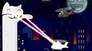You are Longcat, a hero inspired by famous internet meme. You must destroy all of your enemies with laser beam eyes and other weapons that you can...