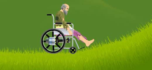 Control your wheeled vehicle and don't get killed! This sounds simple, but what if you ride as a disabled person on a wheelchair? This bloody, real physics...